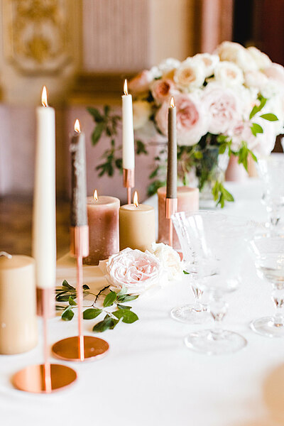 Decorated wedding table with candles and flowers