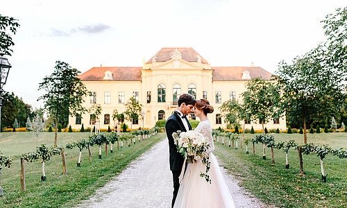 Bridal couple in front of the yellow castle