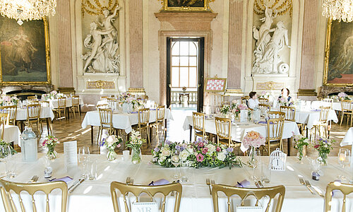 Wedding table in the baroque ballroom of Castle Eckartsau