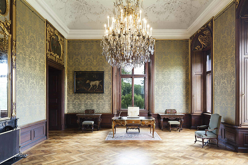 Grey Parlor with original desk of the last Emperor Charles I. at Castle Eckartsau
